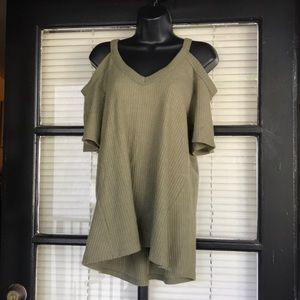 Self Esteem Cold Shoulder Olive Green Sweater